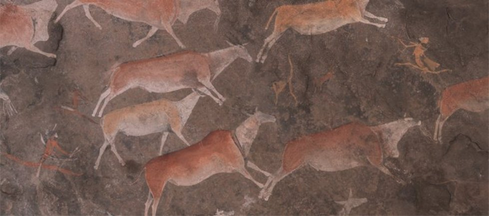 The Zaamenkomst Panel. Detail of rock art depicting SanBushmen running between eland. Made before 1900. Iziko Museums of South Africa, Social History Collections and SARADA. Photo Neil Rusch..jpg